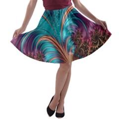 Feather Fractal Artistic Design A Line Skater Skirt