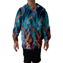 Feather Fractal Artistic Design Hooded Wind Breaker (kids)
