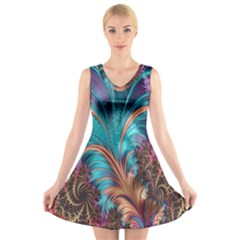 Feather Fractal Artistic Design V Neck Sleeveless Skater Dress