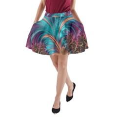 Feather Fractal Artistic Design A-Line Pocket Skirt