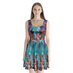 Feather Fractal Artistic Design Split Back Mini Dress
