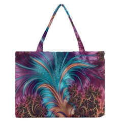 Feather Fractal Artistic Design Medium Zipper Tote Bag