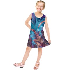 Feather Fractal Artistic Design Kids  Tunic Dress