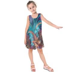 Feather Fractal Artistic Design Kids  Sleeveless Dress