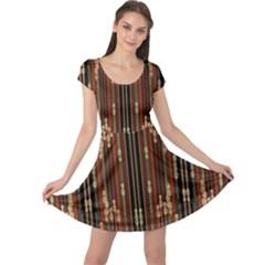 Floral Strings Pattern Cap Sleeve Dresses