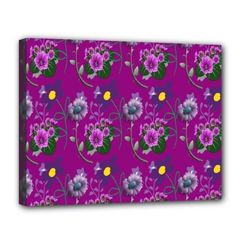 Flower Pattern Canvas 14  x 11