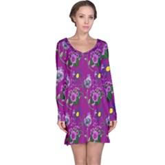Flower Pattern Long Sleeve Nightdress