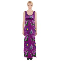 Flower Pattern Maxi Thigh Split Dress