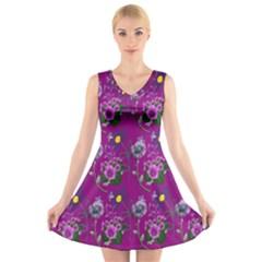 Flower Pattern V Neck Sleeveless Skater Dress