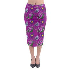 Flower Pattern Midi Pencil Skirt