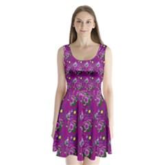 Flower Pattern Split Back Mini Dress