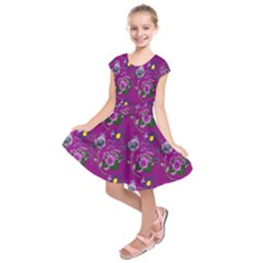 Flower Pattern Kids  Short Sleeve Dress