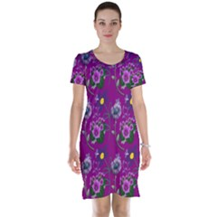 Flower Pattern Short Sleeve Nightdress