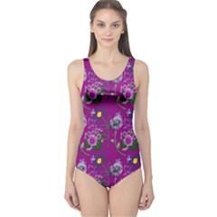Flower Pattern One Piece Swimsuit