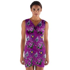 Flower Pattern Wrap Front Bodycon Dress