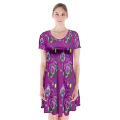 Flower Pattern Short Sleeve V-neck Flare Dress