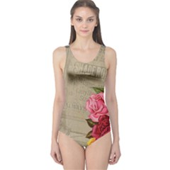 Flower Floral Bouquet Background One Piece Swimsuit