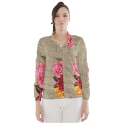 Flower Floral Bouquet Background Wind Breaker (Women)