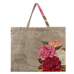 Flower Floral Bouquet Background Zipper Large Tote Bag