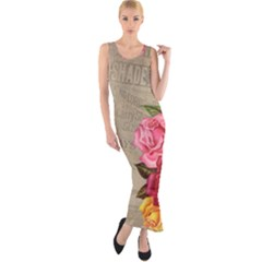 Flower Floral Bouquet Background Fitted Maxi Dress