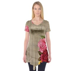 Flower Floral Bouquet Background Short Sleeve Tunic