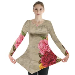 Flower Floral Bouquet Background Long Sleeve Tunic