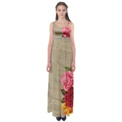 Flower Floral Bouquet Background Empire Waist Maxi Dress