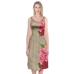 Flower Floral Bouquet Background Midi Sleeveless Dress