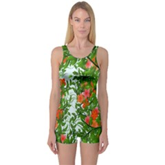 Flower Background Backdrop Pattern One Piece Boyleg Swimsuit