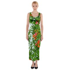 Flower Background Backdrop Pattern Fitted Maxi Dress