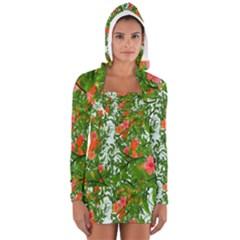 Flower Background Backdrop Pattern Women s Long Sleeve Hooded T Shirt