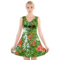 Flower Background Backdrop Pattern V Neck Sleeveless Skater Dress