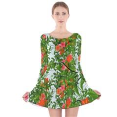 Flower Background Backdrop Pattern Long Sleeve Velvet Skater Dress
