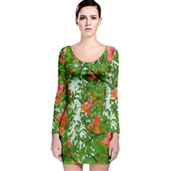 Flower Background Backdrop Pattern Long Sleeve Velvet Bodycon Dress