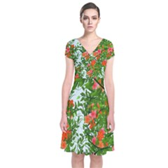 Flower Background Backdrop Pattern Short Sleeve Front Wrap Dress