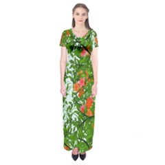 Flower Background Backdrop Pattern Short Sleeve Maxi Dress