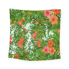 Flower Background Backdrop Pattern Square Tapestry (small)