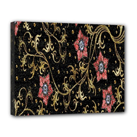 Floral Pattern Background Canvas 14  x 11