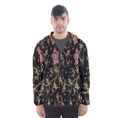 Floral Pattern Background Hooded Wind Breaker (Men)