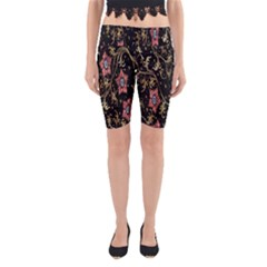 Floral Pattern Background Yoga Cropped Leggings