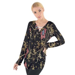 Floral Pattern Background Women s Tie Up Tee