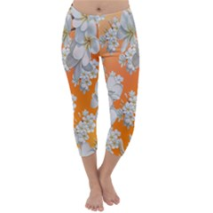 Flowers Background Backdrop Floral Capri Winter Leggings