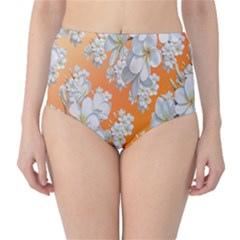 Flowers Background Backdrop Floral High-Waist Bikini Bottoms