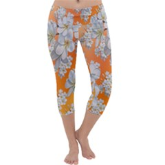 Flowers Background Backdrop Floral Capri Yoga Leggings