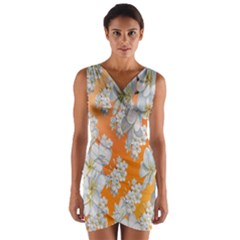 Flowers Background Backdrop Floral Wrap Front Bodycon Dress