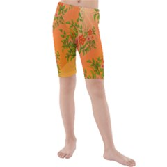 Flowers Background Backdrop Floral Kids  Mid Length Swim Shorts