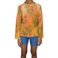 Flowers Background Backdrop Floral Kids  Long Sleeve Swimwear