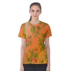Flowers Background Backdrop Floral Women s Cotton Tee