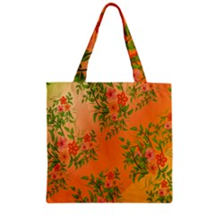 Flowers Background Backdrop Floral Zipper Grocery Tote Bag