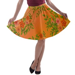 Flowers Background Backdrop Floral A-line Skater Skirt